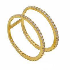 22K Yellow Gold Connected Stackable Ring W/ Cubic Zirconia Trim
