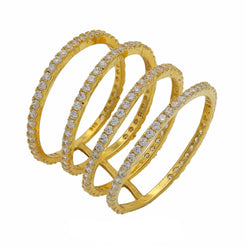 22K Yellow Gold Cubic Zirconia Connected Stackable Ring