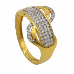22K Yellow Gold Infinity Ring W/Cubic Zirconia Stones