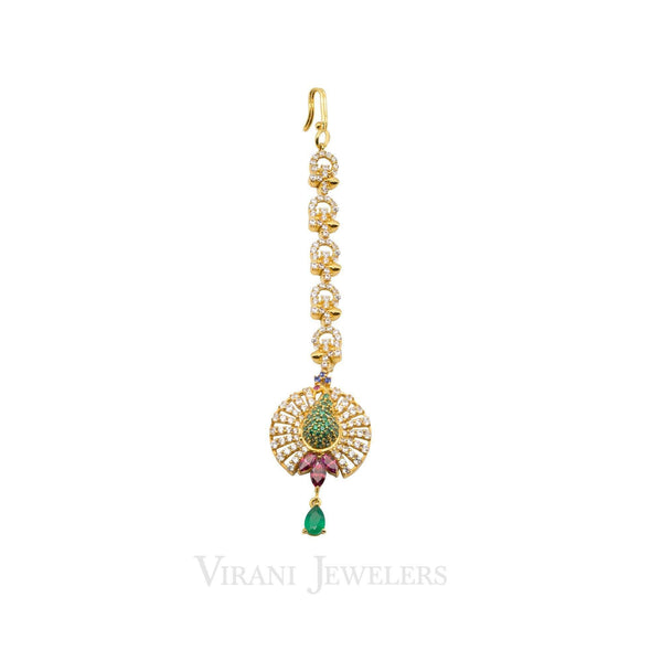 22k Gold Ruby Emerald CZ Tikka |