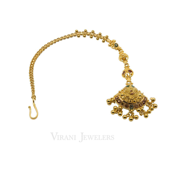 22K Yellow Gold Tikka Headpiece W/ Drop Bead Balls | 22K Yellow Gold Tikka Headpiece W/ Drop Bead Balls for women. Beautifuly handcrafted filigree car...
