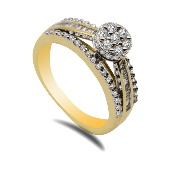 14K Two Tone Gold Diamond Ring | 14K Two Tone Gold Diamond Ring for women. Beautiful yellow gold band with white gold prongs which...