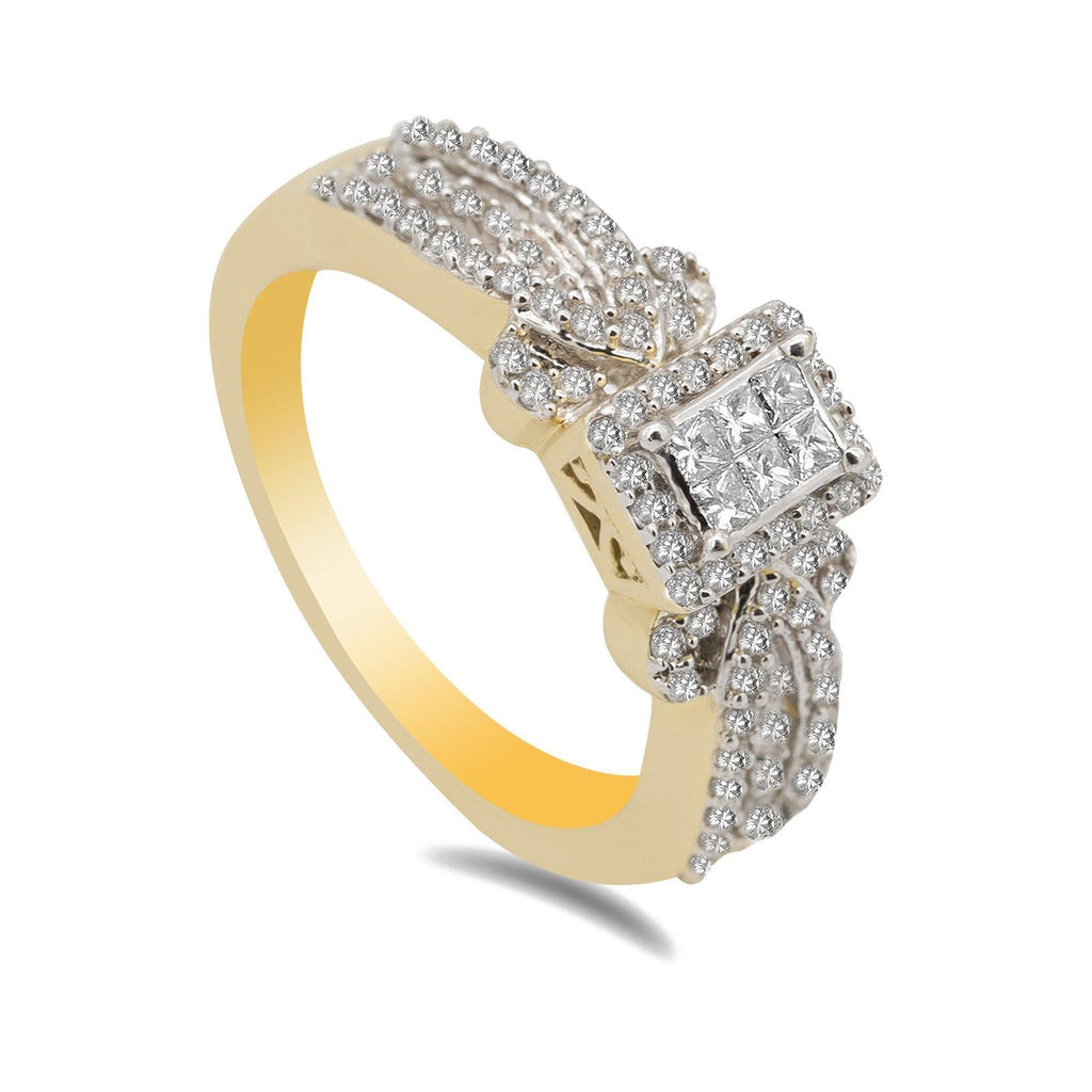 14K Two Tone Gold Art Deco Diamond Pavé Ring | 14K Two Tone Gold Art Deco Diamond Pavé Ring for women. Yellow gold band with 0.56 carats of diam...