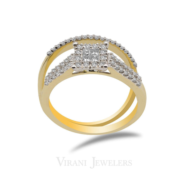 14K Two Tone Gold Diamond Pavé Bridal Ring Set | 14K Two Tone Gold Diamond Pavé Bridal Ring Set for women. Beautiful classic engagement and weddin...