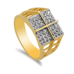 22K Multitone Gold Geometric Ring W/ Cubic Zirconia for Men