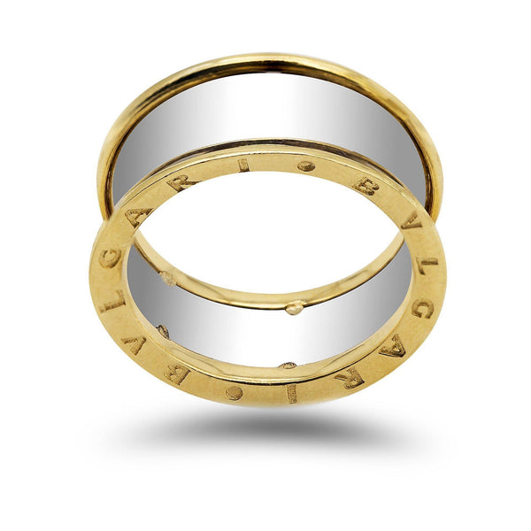 18K Two Tone Gold Bulgari Men's Ring | 18K Two Tone Gold Bulgari Men's Ring. Yellow and white gold combine to make this masculine and mo...