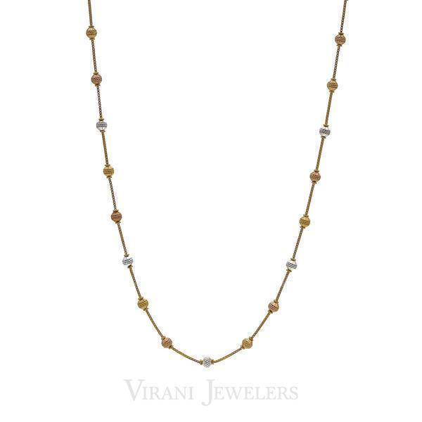 22K Yellow Gold Chain Necklace W/ Tri Tone Gold Ball Accents | 22K Yellow Gold Chain Necklace W/ Tri Tone Gold Ball Accents for women. Necklace features a box l...