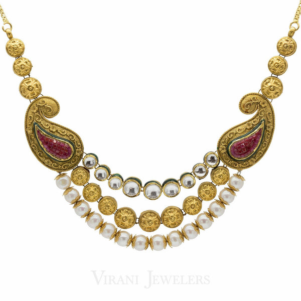 22K Gold Pearl Emerald Ruby Antique Necklace and Earrings Set |