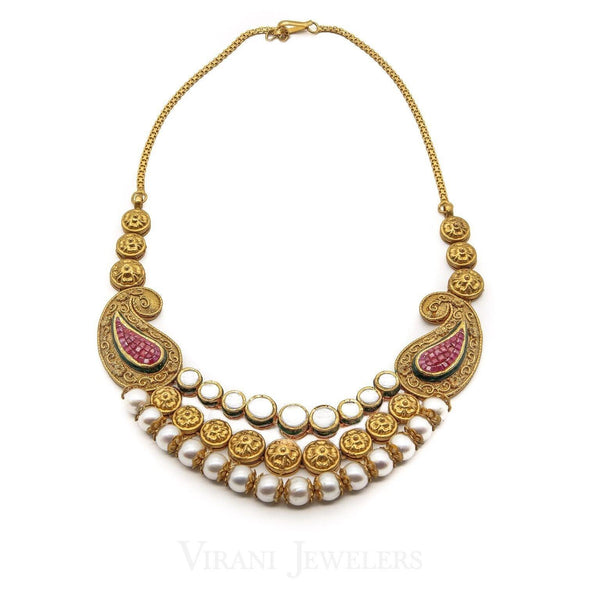 22K Antique Gold KundanNecklace & Earring Set W/ Pearl & Hand-Painted Accents | 22K Antique Gold KundanNecklace & Earring Set W/ Pearl & Hand-Painted Accents for women. ...