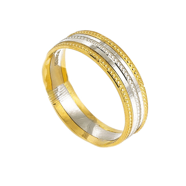 Platinum & 18K Yellow Gold Two Tone Ring Band For Men | Platinum & 18K Yellow Gold Two Tone Ring Band For Men. Beautiful band features a dotted desig...