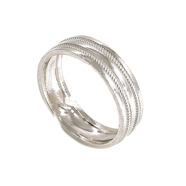 Platinum Ring Band W/ Twisted Stripes for Men | Platinum Ring Band W/ Twisted Stripes for Men. Gorgeous platinum band features twisted contrast s...
