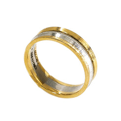 18K Yellow Gold & Platinum Two Tone Ring Band For Men