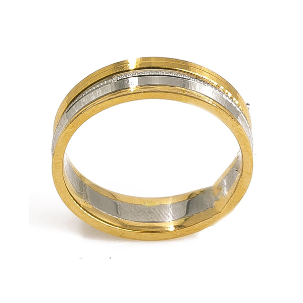 18K Yellow Gold & Platinum Two Tone Ring Band For Men | 18K Yellow Gold & Platinum Two Tone Ring Band For Men. Beautiful two tone men's band with a d...