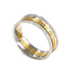 18K Yellow Gold & Platinum Two Tone Ring Band W/ Dotted Stripes For Men
