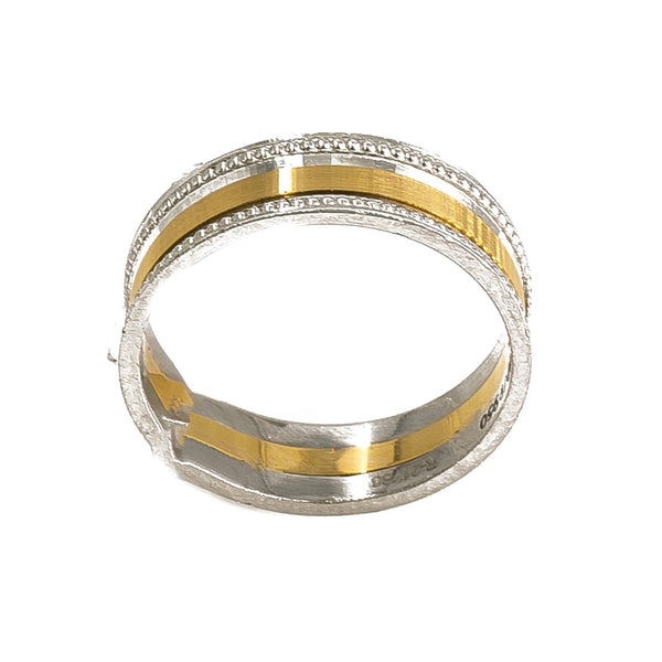 18K Yellow Gold & Platinum Two Tone Ring Band W/ Dotted Stripes For Men | 18K Yellow Gold & Platinum Two Tone Ring Band W/ Dotted Stripes For Men. Classic men's band w...
