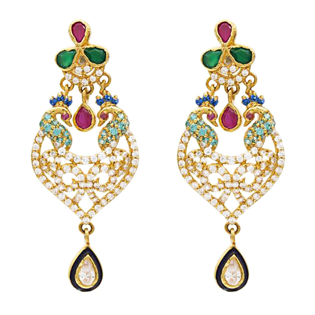 22K Gold Ruby Emerald CZ Earrings | Precious stone earrings crafted with 22k gold gives you a ravishing look. These gems gives additi...