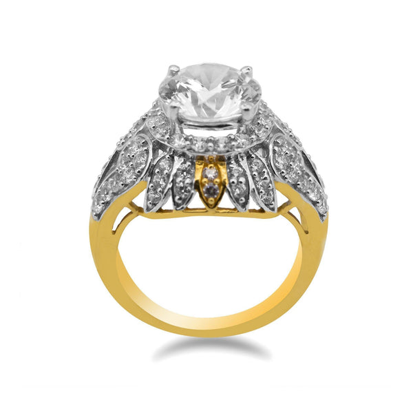 22K Two Tone Gold Art Deco Cocktail Ring W/ Cubic Zirconia | 22K Two Tone Gold Art Deco Cocktail Ring W/ Cubic Zirconia for women. Yellow and white gold come ...