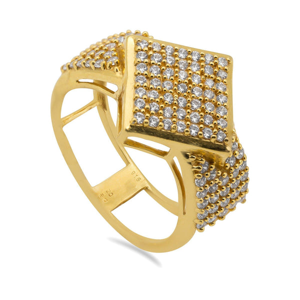 22K Yellow Gold Cubic Zirconia Pavé Ring for Men | 22K Yellow Gold Cubic Zirconia Pavé Ring for Men. Stunning men's ring features a thick band with ...