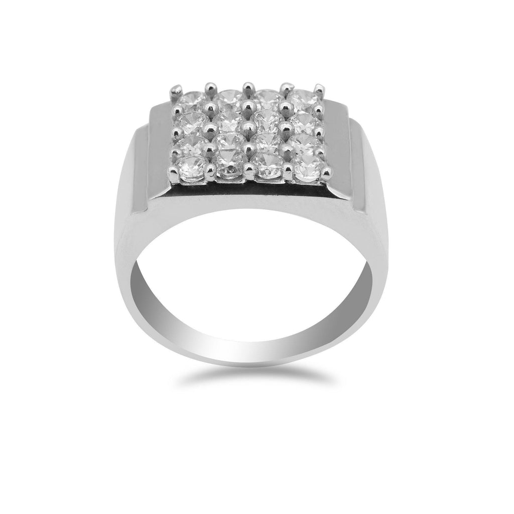 22K White Gold Ring W/ Cubic Zirconia Pavé for Men | 22K White Gold Ring W/ Cubic Zirconia Pavé for Men. Stunning white gold ring features sparkling c...