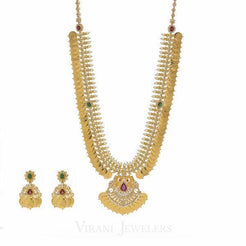 22K Yellow Gold Kasu Lakshmi Necklace & Earrings Set W/ Uncut Polki Diamonds, Emeralds, Rubies, & Pearls