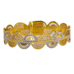 One 22K multi-tone gold bangle with a white and yellow gold semi-circle design.