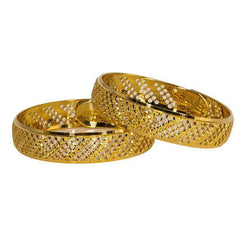 Set of two 22K gold bangles for kids featuring domed frames and circle cut-outs.