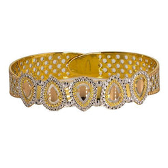 Beautiful 22K multi-tone bangle featuring teardrop details and stunning craftsmanship.