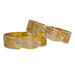 Set of two 22 karat bangles featuring slanted cutouts and eye-catching textures around each band.