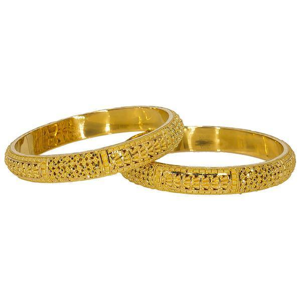 Set of two breathtaking 22K Indian gold bangles from Virani Jewelers featuring beaded filigree and intricate details. | Upgrade your collection of Indian gold jewelry with this set of two beautiful 22K bangles from Vi...
