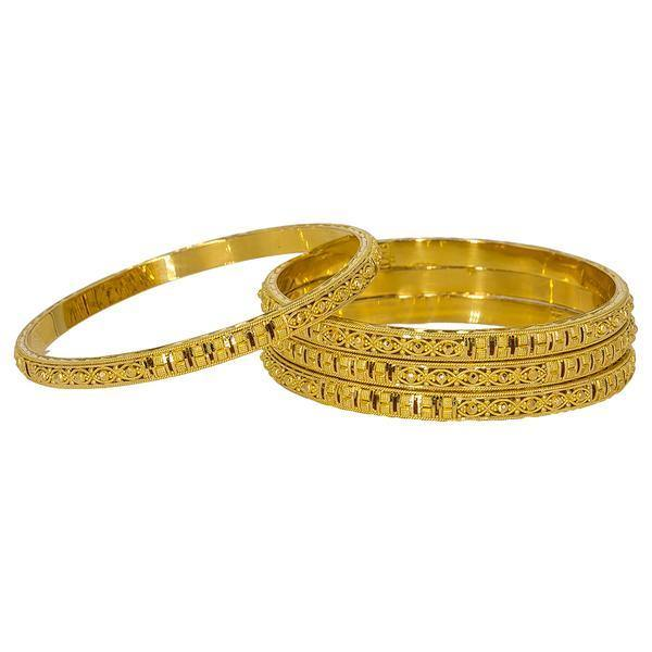 Four stunning 22K Indian gold bangles from Virani Jewelers featuring intricate beaded filigree. | Add gorgeous 22K gold to your wardrobe with this set of four intricate gold bangles from Virani J...