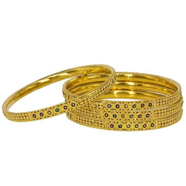 Set of four beautiful 22K bangles with enamel flower details from Virani Jewelers. | Add a sparkle of beautifully crafted 22K gold to any outfit with this set of four yellow gold ban...