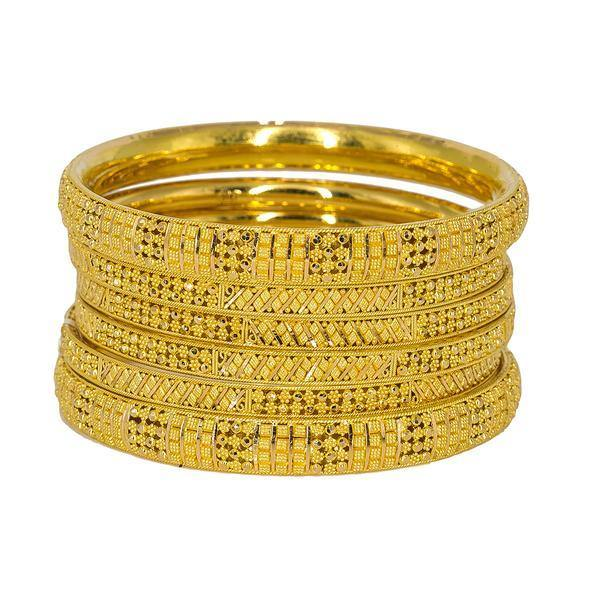 Set of six 22K Indian gold bangles from Virani Jewelers featuring beaded filigree and stunning accents around each band. | Add a flash of 22K gold to any outfit with this set of six yellow gold bangles from Virani Jewele...