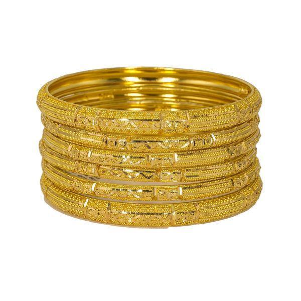 Set of six 22K Indian gold bangles from Virani Jewelers featuring detailed bands and intricate beaded filigree. | Add the best in 22K yellow gold to your collection with this set of six 22K bangles from Virani J...