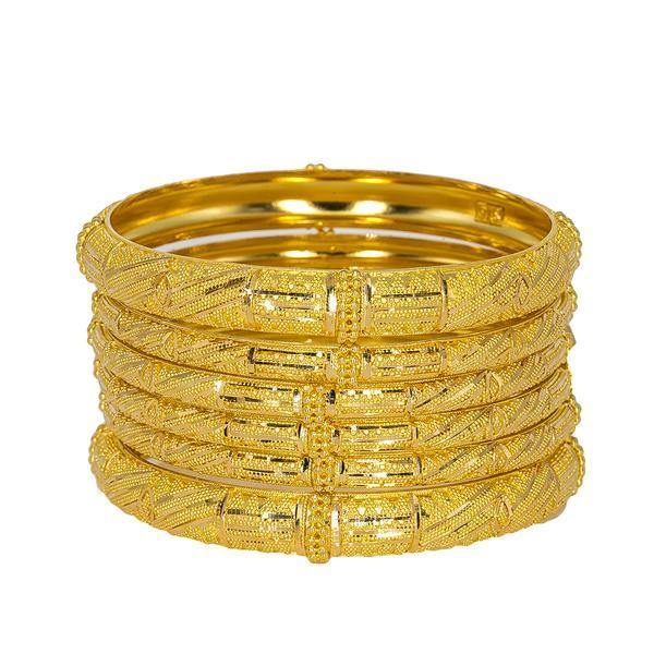 Set of six 22K yellow gold bangles from Virani Jewelers featuring beaded filigree and stunning details. | Adorn your wrists with the best in 22K gold with this set of six radiant bangles from Virani Jewe...