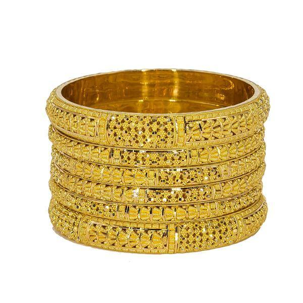 Set of six 22K Indian gold bangles from Virani Jewelers featuring chunky beaded filigree and stunning details around each band. | Add brilliant 22K gold to your wardrobe with this set of six gorgeous 22K gold bangles from Viran...