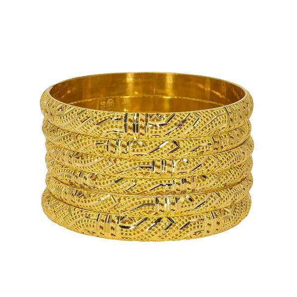Set of six 22K yellow gold bangles from Virani Jewelers featuring intricate laser-cut designs around each band. | Add the best in Indian gold jewelry to your collection with this set of six 22K yellow gold bangl...