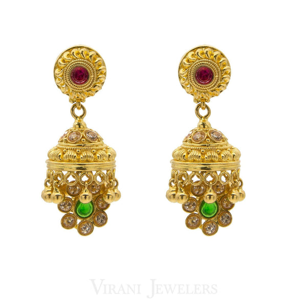 22K Gold Mango Studded Necklace and Earrings W/ CZ, Ruby & Emerald Stones | 22K Gold Mango Studded Necklace and Earrings W/ CZ, Ruby & Emerald Stones for women. Necklace...