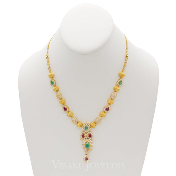 22K Yellow Gold Beaded Necklace & Earrings W/ Cubic Zirconia, Ruby, & Emerald Stones | 22K Yellow Gold Beaded Necklace & Earrings W/ Cubic Zirconia, Ruby, & Emerald Stones for ...