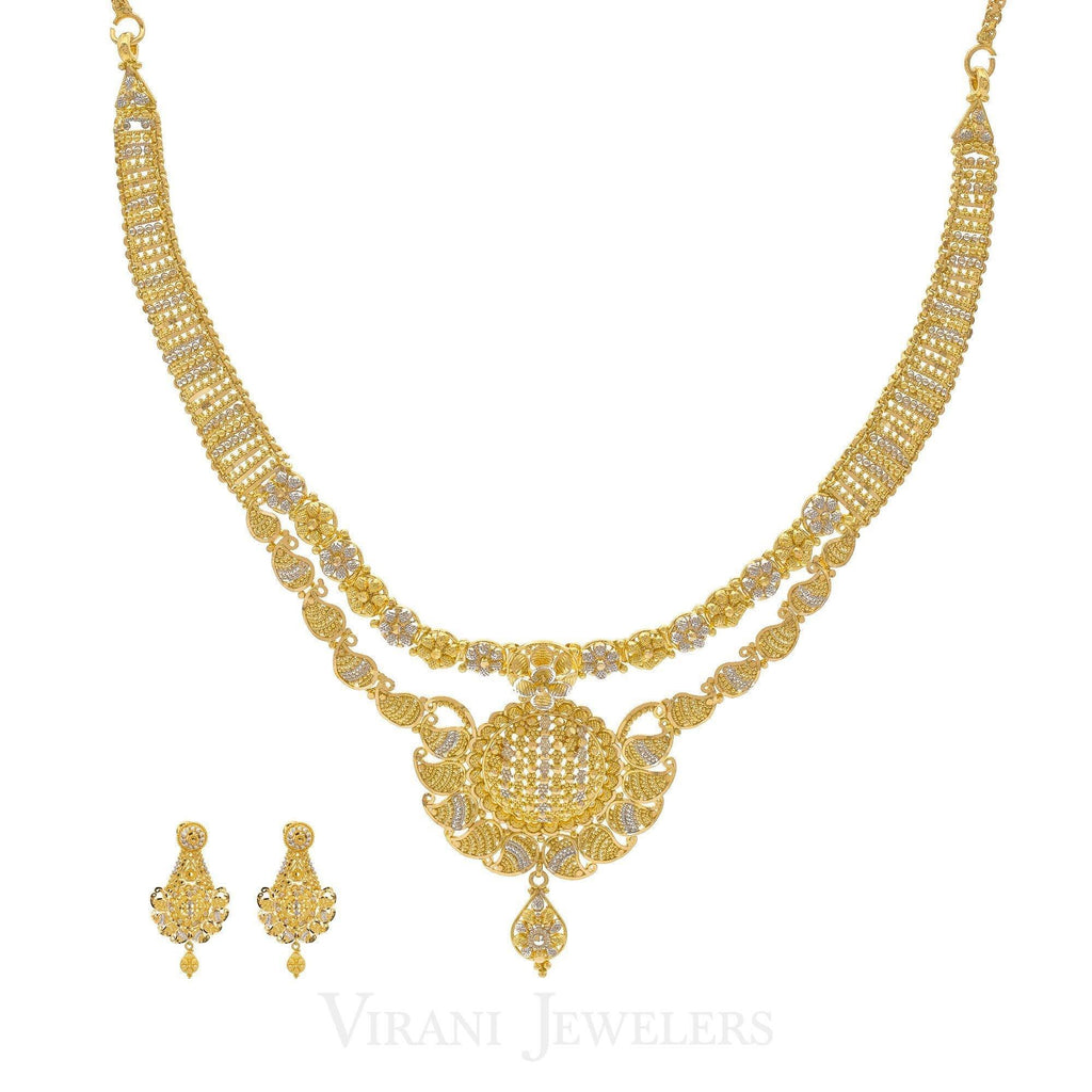 22K Two Tone Gold Chandelier Necklace & Drop Earrings Set W/ Stripe & Floral Detailing | 22K Two Tone Gold Chandelier Necklace & Drop Earrings Set W/ Stripe & Floral Detailing fo...