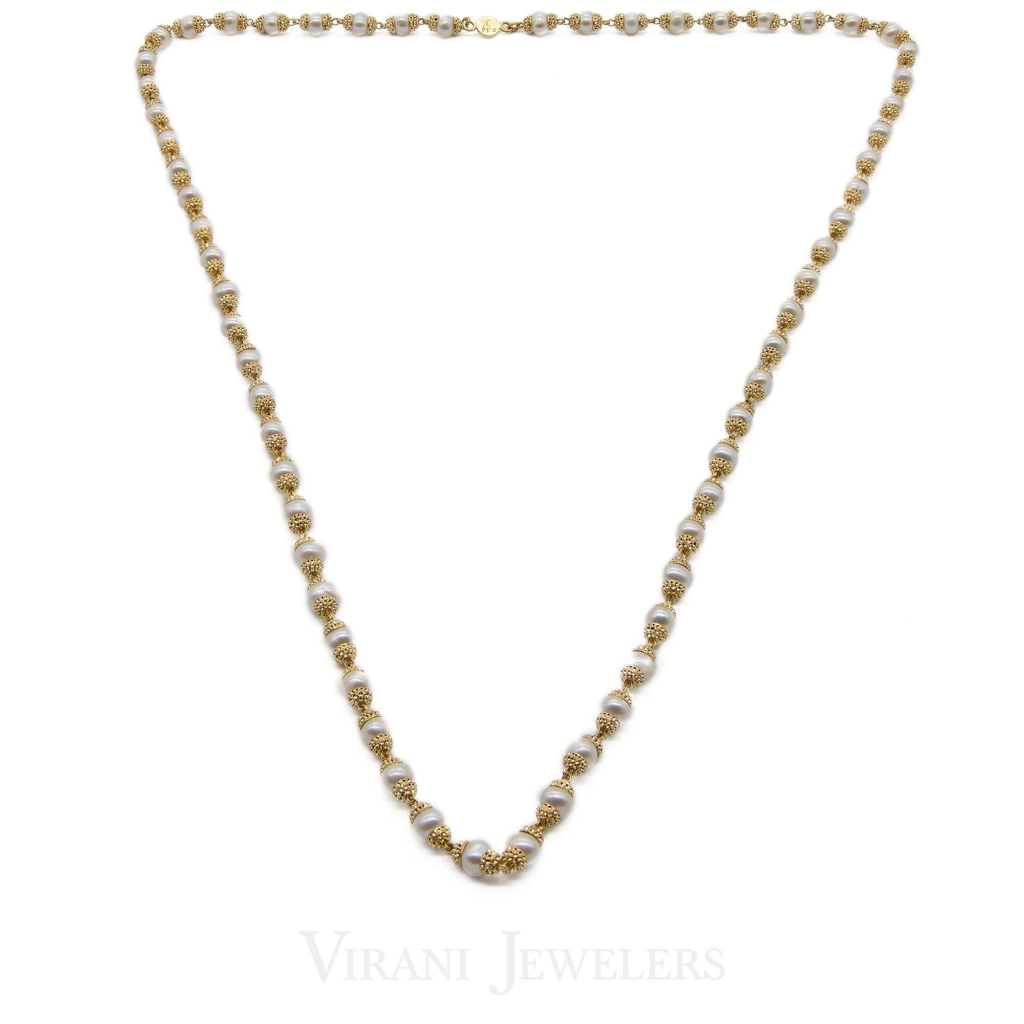 c605095270cfe Pearl Necklace W/22K Yellow Gold Beaded Ball Accents