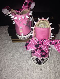 Girl's Bling Converse Minnie Mouse/ Sparkly Converse Minnie Mouse/  Crystal Sneakers w/ Minnie Mouse
