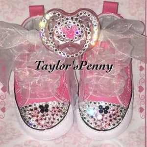Bling Baby Converse w/ Bling Pacifier (Minnie Mouse)