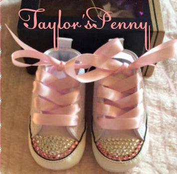 Baby First Star Bling Converse with Pink Stones