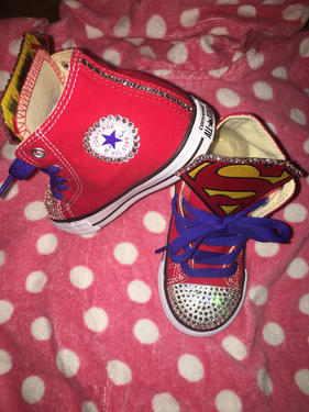 e39003b1bf75 Girls Bling Converse Supergirl Sneakers – Taylors-Penny