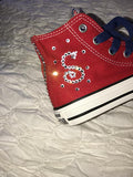 Girl's BLING CONVERSE (PATRIOTS)/ BLING SNEAKERS/ CRYSTAL SNEAKERS/ BLING SHOES/ SPARKLY SNEAKERS