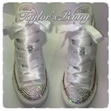 Women's Bling White Converse White and Beautifully Crystallized/ Brides Bling Sneaker