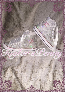 Womens Bling Converse Embellished Inspired by Coco Chanel