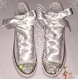 Women's Bling Converse Simply White and Beautiful