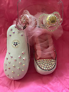 Baby First Star Bling Converse w/ Bling Binkie & AB Stones w/ Tulle