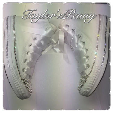 Women's Bling White Converse Crystallized